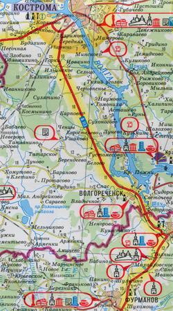 Карта Золотое кольцо России
