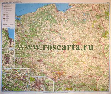 Настенная карта дорог Польши с